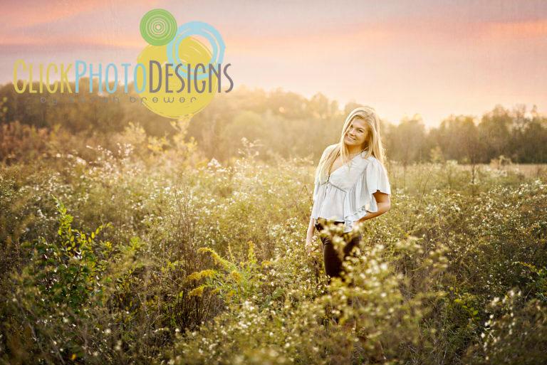 Girl in Field Senior Portraits in Madison, AL