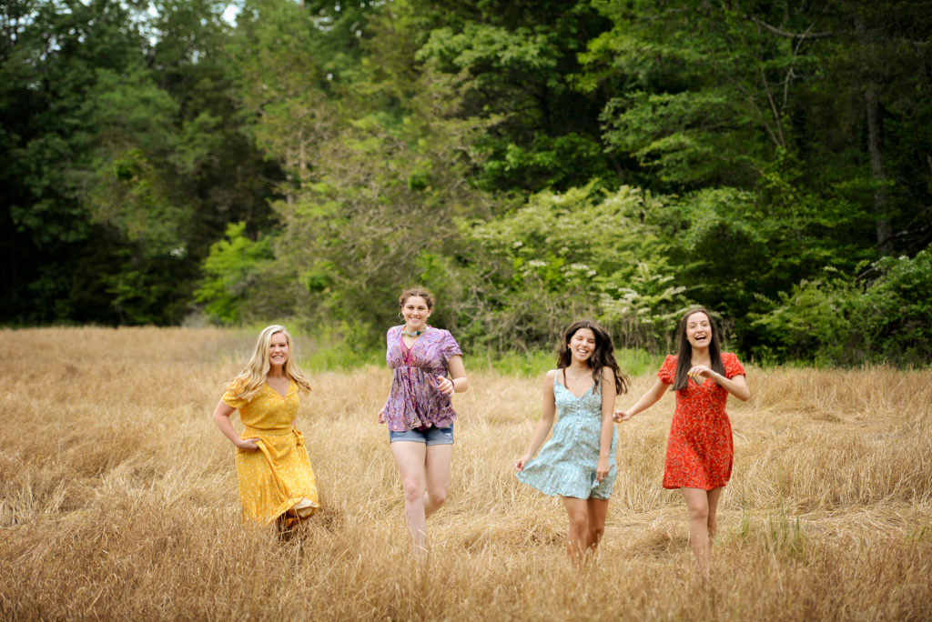 Senior Pictures Girls Running in a Field in Madison, AL