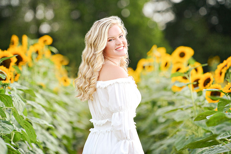 Senior Photos in a Sunflower Field in Madison, AL