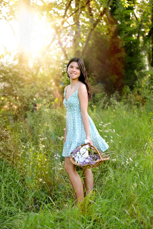 Girls Senior Pictures during Spring Golden Hour with Flowers in Huntsville, AL by Click Photo Designs by Sarah Brewer