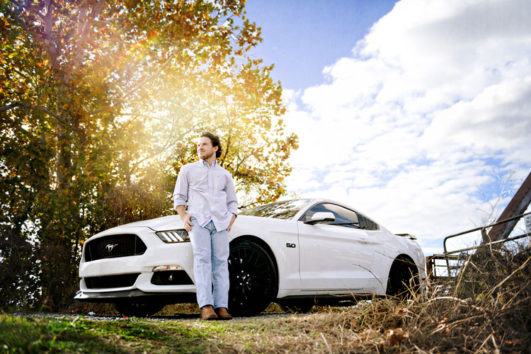 Guys Senior Pictures with Car (Mustang) in Madison, AL