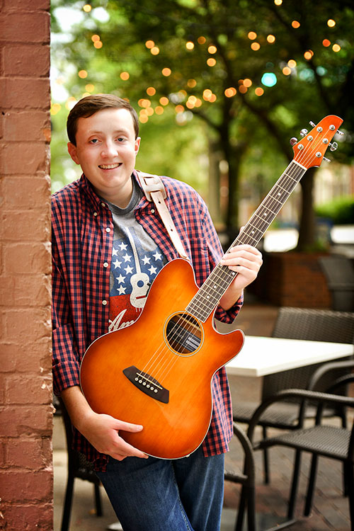 High School Senior Pictures with a Guitar in Downtown Huntsville, AL