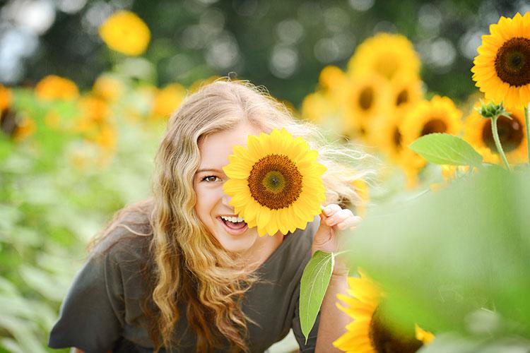 Senior Female Models in Sunflower Field in Madison, AL